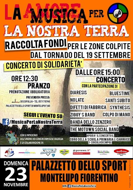 """""""Musica per la nostra terra"""": giornata di solidarietà per le zone colpite dal tornado dello scorso settembre"""