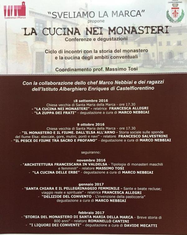 La Cucina nei Monasteri: prende il via il ciclo di conferenze e degustazioni a Castelfiorentino
