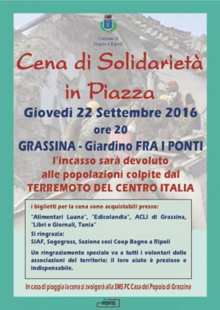 Grassina cena di solidariet in piazza per le popolazioni colpite dal terremoto del 24 - Sogegross bagno a ripoli ...