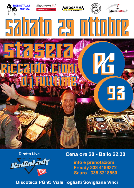 Stasera PG93: torna la grande serata al Mind Club con Riccardo Cioni Dj Fulltime e la diretta su Radio Lady