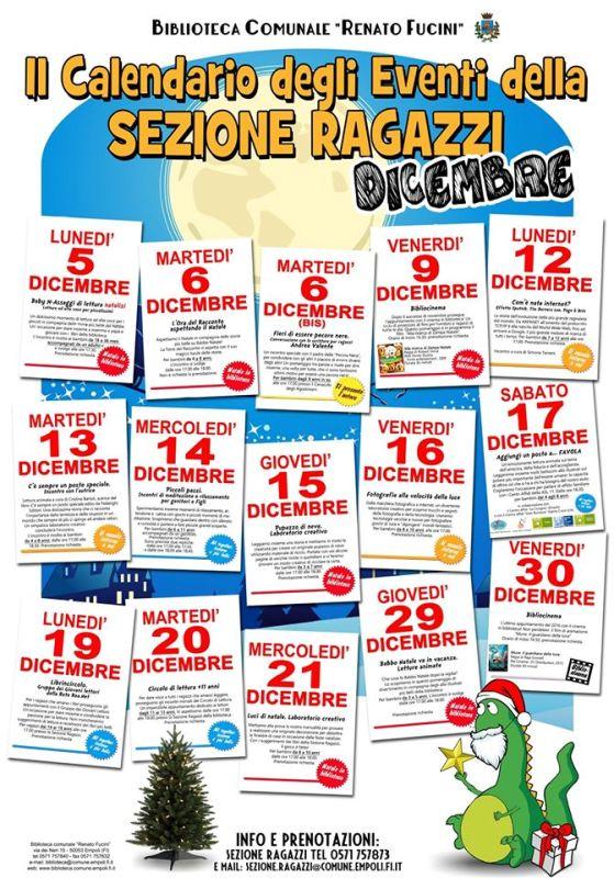Sezione Ragazzi, il calendario di dicembre. In biblioteca a Empoli si prepara un grande Natale