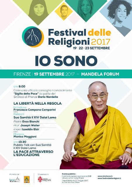 Il Dalai Lama a Firenze inaugura il Festival delle Religioni e Dario Nardella gli consegna il 'Sigillo della pace'