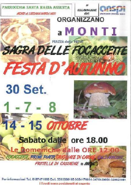 La Sagra delle Focaccette e Festa d'Autunno a Monti