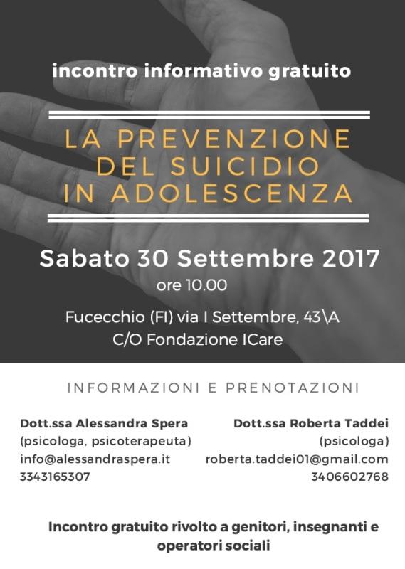 La prevenzione del suicidio in adolescenza: incontro formativo gratuito rivolto a genitori, insegnanti e operatori sociali presso la Fondazione ICare