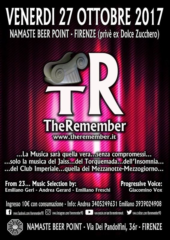 The Remember – a night in progressive music '90 al Namaste Beer Point di Firenze