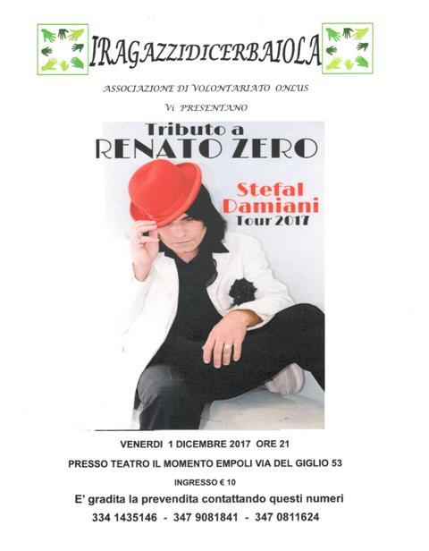 L'associazione i ragazzi di Cerbaiola organizzano uno spettacolo con Stefal Damiani, sosia di Renato Zero