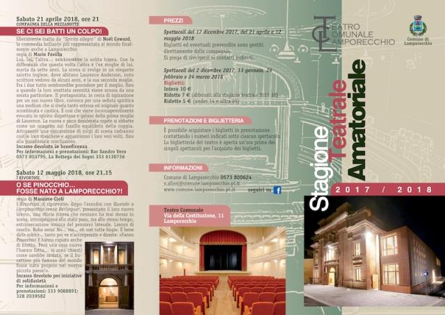 Stagione Teatrale amatoriale 2017/2018 al Teatro Comunale di Lamporecchio