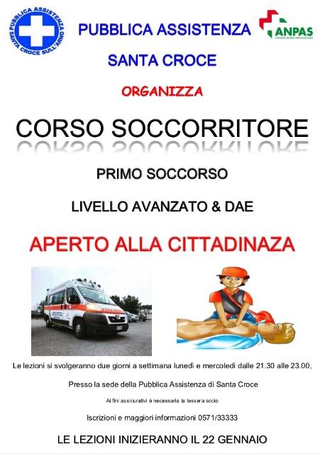 La Pubblica Assistenza di Santa Croce sull'Arno organizza il corso gratuito di Primo Soccorso