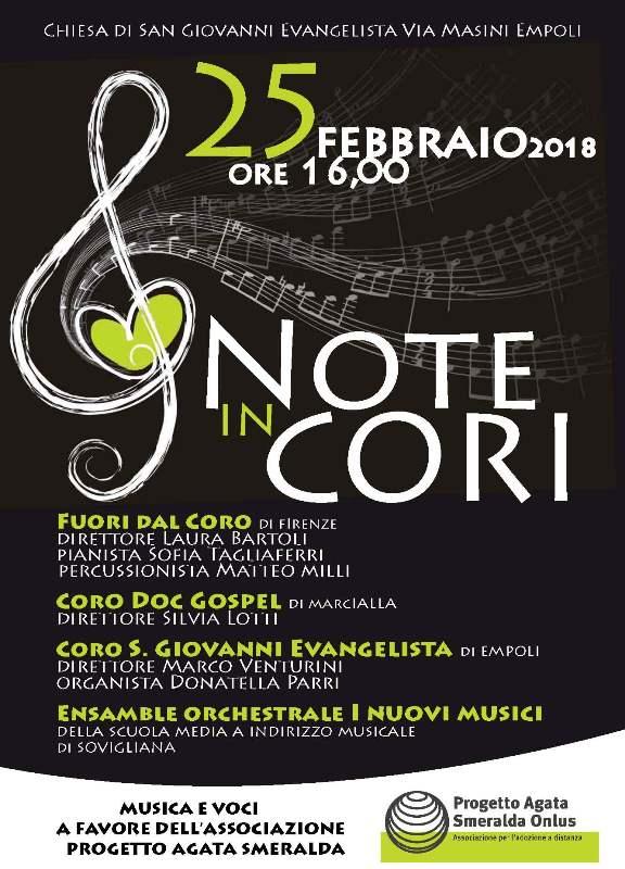 """""""Note in cori"""" rassegna corale alla chiesa di S.Giovanni Evangelista a Empoli a favore del Progetto Agata Smeralda"""