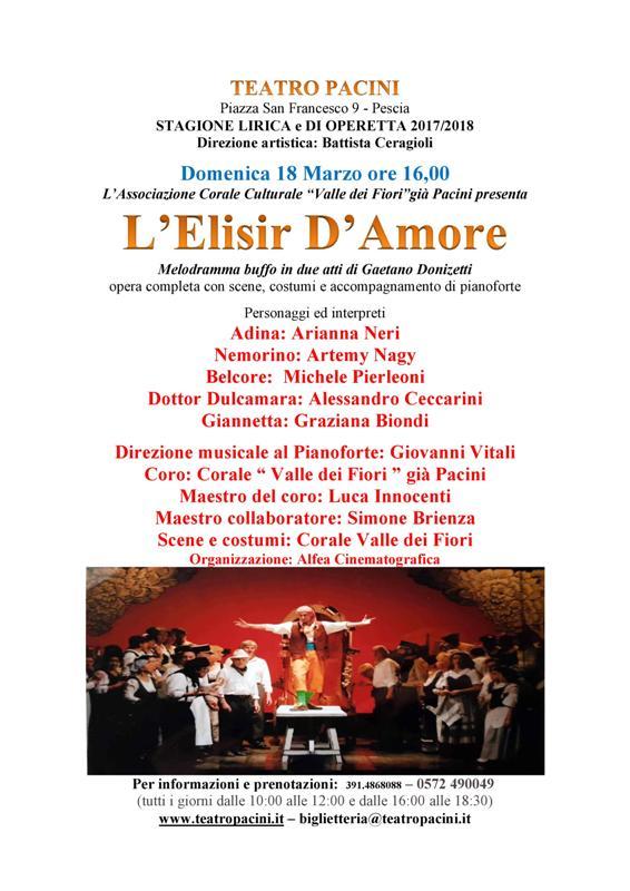 L'Elisir d'amore: ultimo appuntamento della stagione lirica 2017/2018 al Teatro Pacini di Pescia