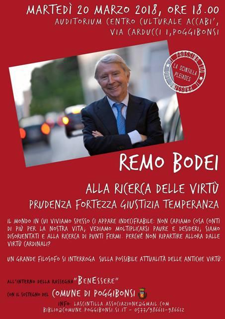 """Nell'ambito del ciclo """"Come te stesso"""", rassegna BenEssere con Remo Bodei """"Alla ricerca delle virtù"""""""