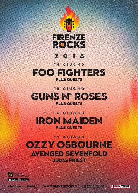 Firenze Rocks 2018 il festival più rock dell'estate Italiana tra gli ospiti Ozzy Osbourne, Guns N'Roses, Iron Maiden