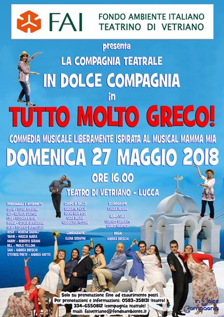 La compagnia teatrale In dolce compagnia presenta Tutto molto greco al Teatro di Vetriano