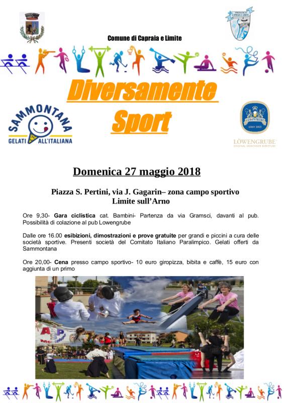 """""""Diversamente Sport"""": una festa delle associazioni sportive con focus sullo sport per tutti a Capraia e Limite"""