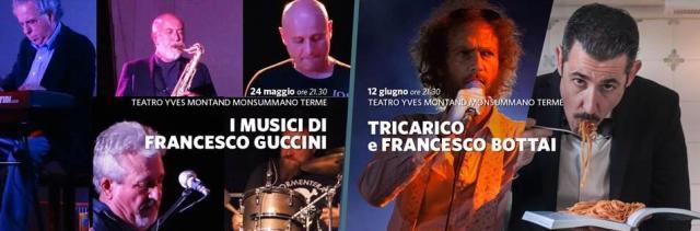 Due concerti in programma al Teatro Montand: I Musici di Francesco Guccini e Tricarico con Francesco Bottai de I Gatti Mezzi