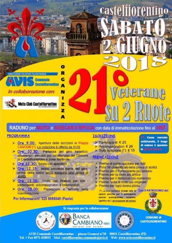 "Sabato 2 giugno motoraduno di ""Veterane"" a Castelfiorentino"