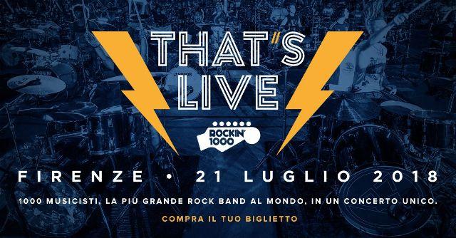 Rockin'1000 That's Live allo Stadio Artemio Franchi di Firenze. Dirige Peppe Vessicchio e presentano Nikki e Federico Russo