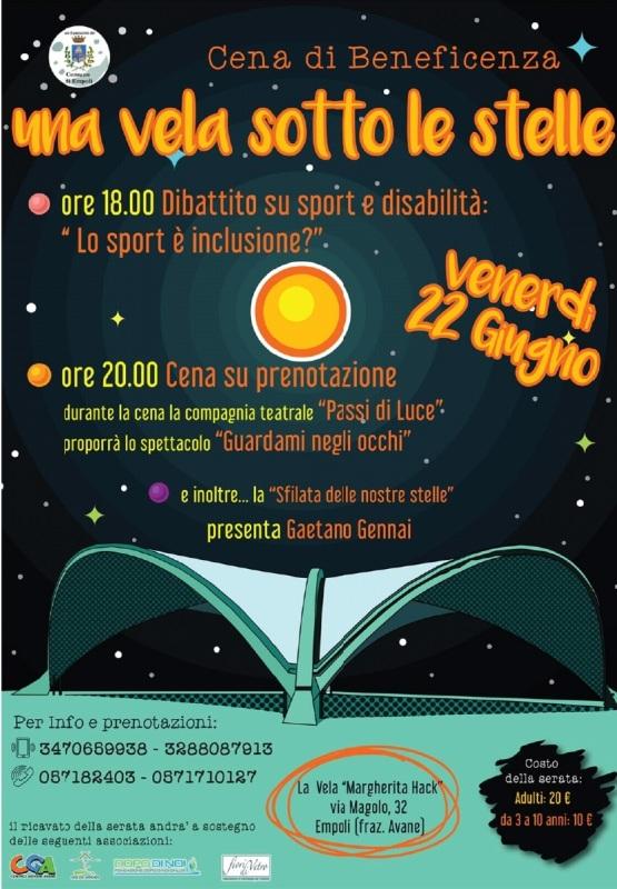 Una vela sotto le stelle: un dibattito su sport e disabilità e una cena di beneficenza al centro La Vela Margherita Hack organizzata da Noi da Grandi, Centro Giovani, Fiori di Vetro e Dopo di Noi