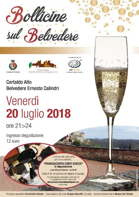 Bollicine sul Belvedere, serata di grandi vini, ceramica e stelle