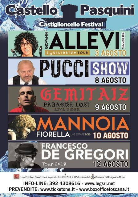 Castiglioncello Festival al Castello Pasquini tra gli ospiti Giovanni Allev, Francesco De Gregori, Fiorella Mannoia