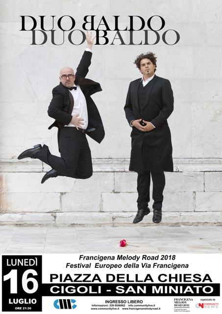 Duo Baldo in concerto a Cigoli per la Francigena Melody Road 2018 il Festival Europeo della Via Francigena