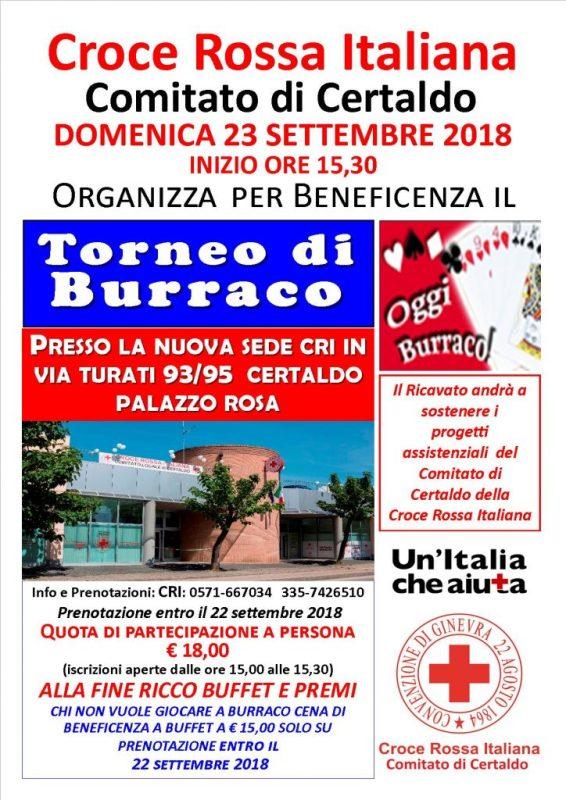 Torneo di Burraco per beneficenza organizzato dalla Croce Rossa Italiana – comitato di Certaldo