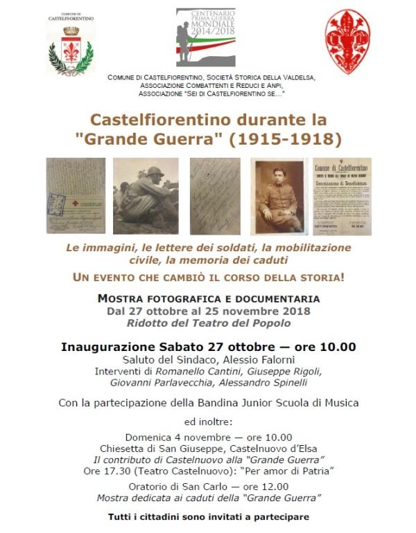"""Castelfiorentino ricorda la """"Grande Guerra"""" 1915-1918 e scopre un giovanissimo volontario di appena 12 anni!"""