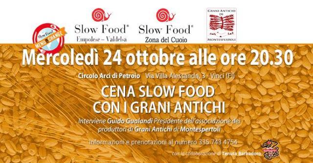 Cena Slow Food con i grani antichi al Circolo Arci di Petroio