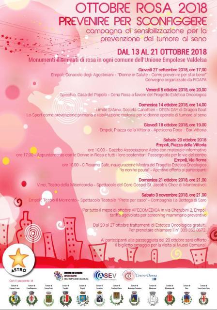 Ottobre Rosa, prevenzione dei tumori al seno dal 13 al 21 ottobre. Monumenti illuminati e tante iniziative nei comuni dell'Empolese Valdelsa