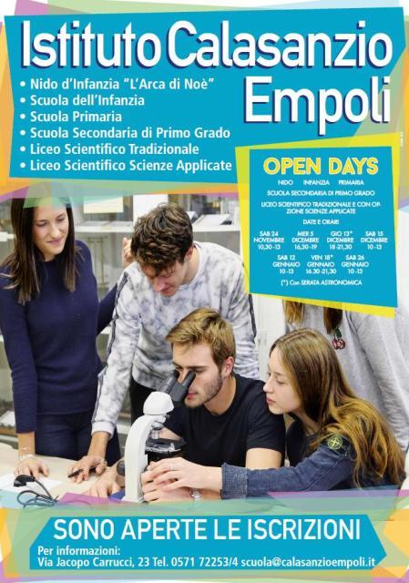 Open Days: aprono le iscrizioni per l'anno scolastico 2019/2020 all'Istituto Calasanzio di Empoli