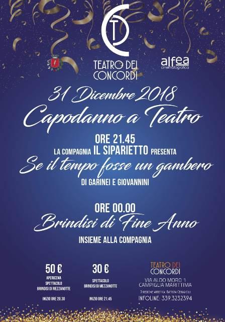 Capodanno con lo spettacolo Se il tempo fosse un gambero con la compagnia Siparietto al Teatro dei Concordi di Campiglia Marittima