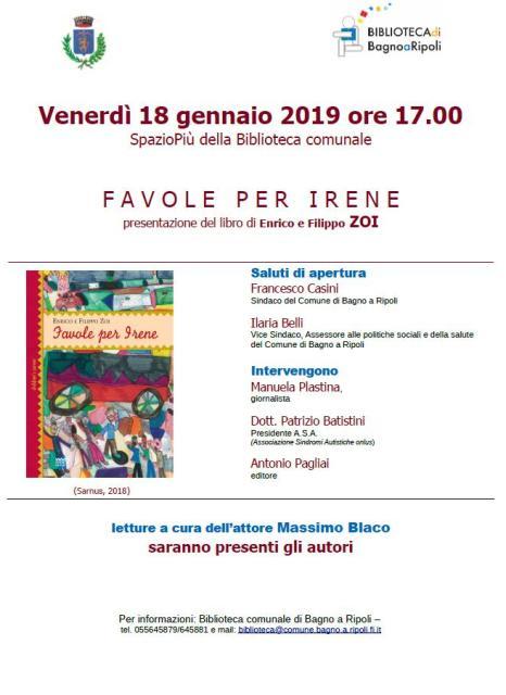 Favole per Irene, il libro di Enrico e Filippo Zoi alla Biblioteca comunale di Bagno a Ripoli