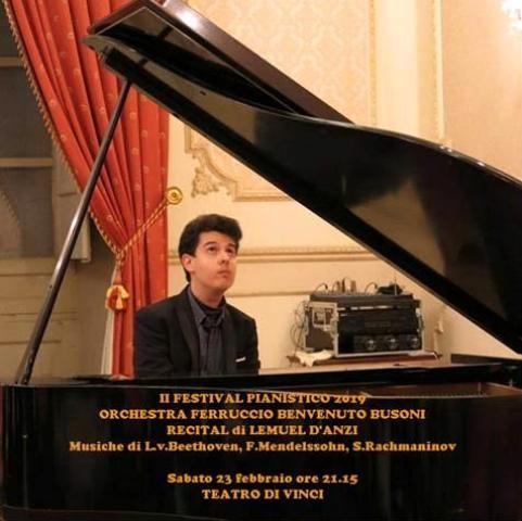 Lamuel D'Anzi in concerto al Teatro Da Vinci per il Festival Pianistico 2019