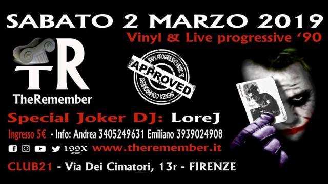 The Remember Vinyl & live progressive '90 al Club 21