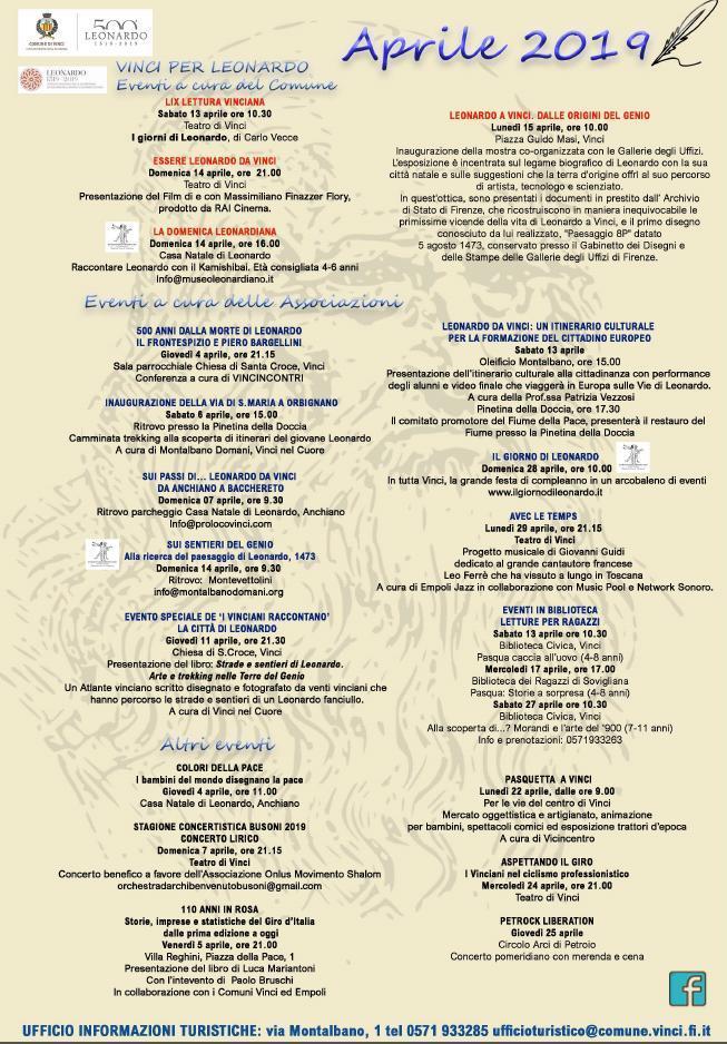 Calendario degli eventi in programma nel Comune di Vinci ad Aprile