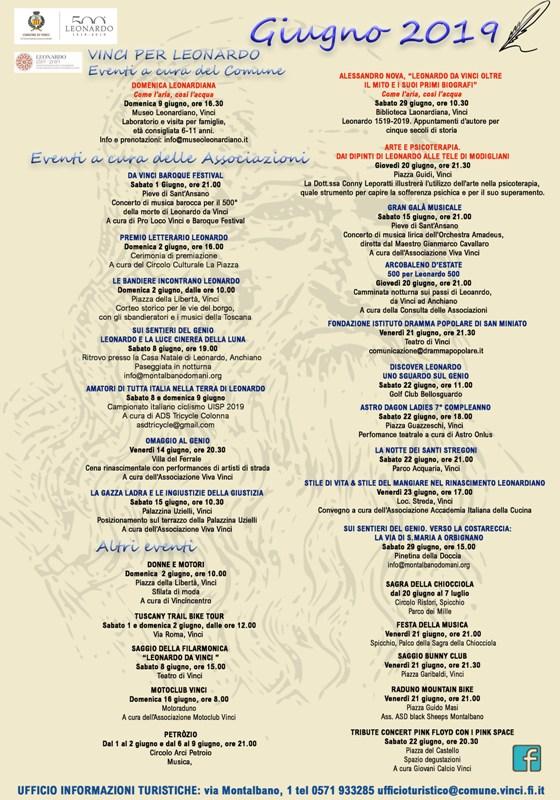 Calendario Mese Giugno.Vinci Calendario Degli Eventi Nel Mese Di Giugno Nel
