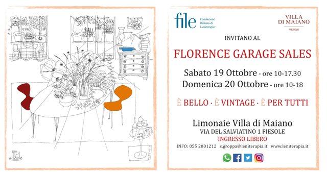 Florence Garage Sales, mercato vintage per la Casa in Favore di FILE Fondazione Italiana di Leniterapia