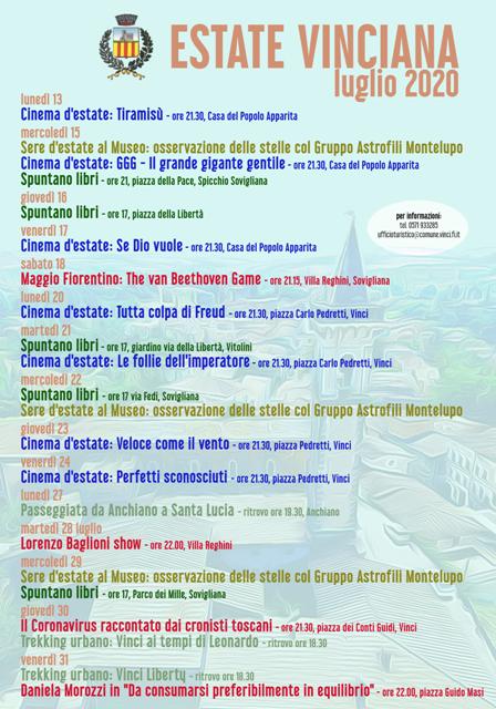 Estate Vinciana 2020, un ricco programma di eventi culturali a Vinci: cinema, trekking, concerti e spettacoli
