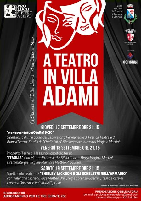 A teatro in Villa Adami, tre giorni di teatro per ripartire a San Piero a Sieve