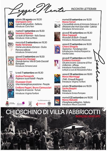 Ciclo di incontri con scrittori al Chioschino di Villa Fabbricotti
