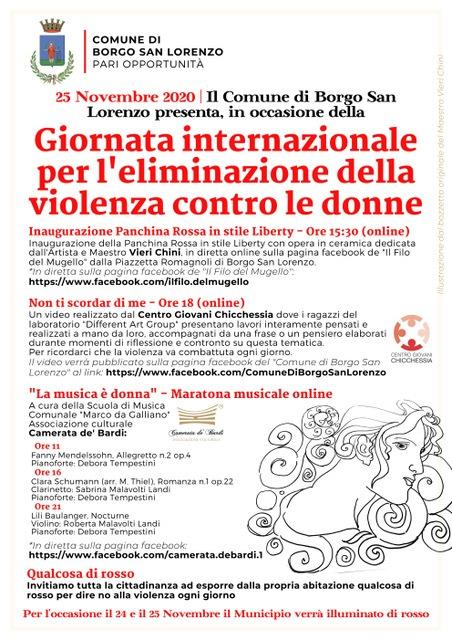 Borgo San Lorenzo: le iniziative nella Giornata contro la Violenza sulle Donne on line