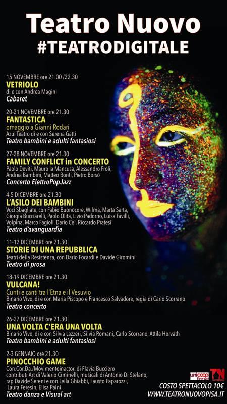 Teatro Nuovo di Pisa. Inizia la rassegna di teatro digitale