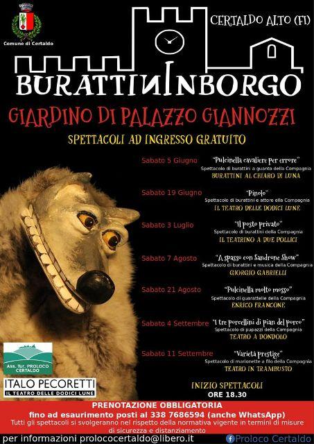 Burattininborgo, storie e marionette da tutta Italia nel giardino di Palazzo Giannozzi