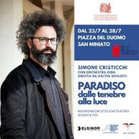Paradiso dalle tenebre alla luce con Simone Cristicchi in piazza Duomo a San Miniato, per la Festa del Teatro