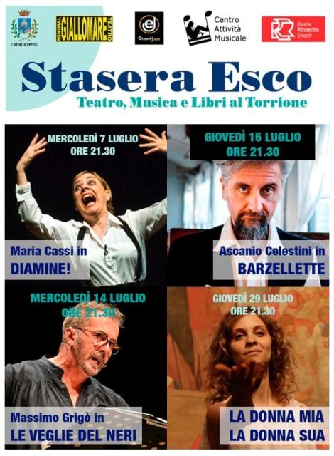 Stasera Esco al Torrione di Santa Brigida: Maria Cassi, Massimo Grigò, Ascanio Celestini, M. Teresa Delogu