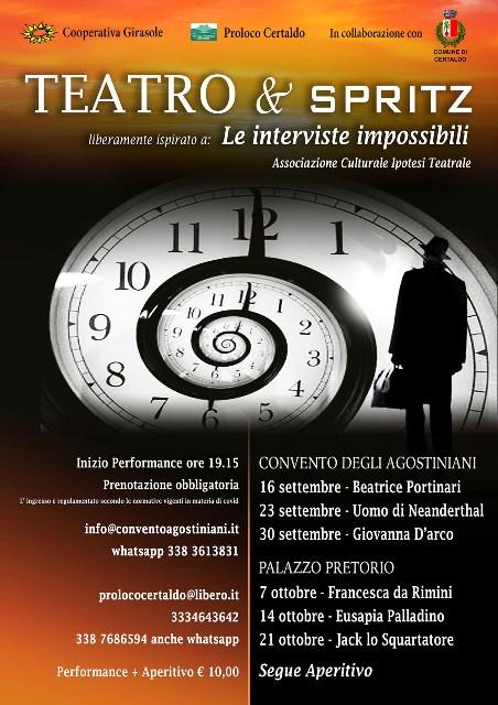 Teatro & Spritz: sei appuntamenti fra Convento degli Agostiniani e Palazzo Pretorio